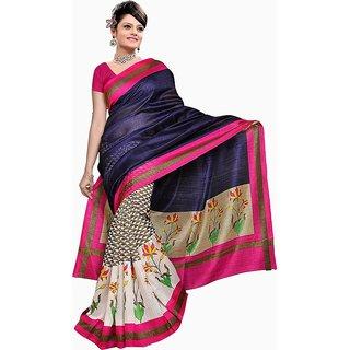 Sukuma Pink & Cream Dupion Silk Floral Saree With Blouse