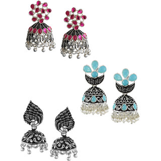 Zaveri Pearls Set of 3 Combo Ethnic Earrings - ZPFK6281