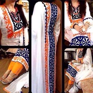 Trendz Apparels White Shantoon Embroidered Kurta & Churidar Material Dress Material (Unstitched)