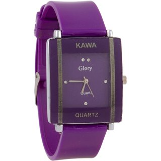 Shreee Kawa Purple Color With Rectangular Crystal Studded Dial Watch For Women