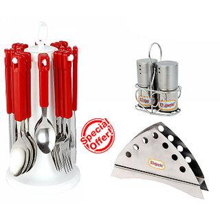 Shhira Elegante Combo of Table Craft Cutlery with Napkin Holder Salt n pepper