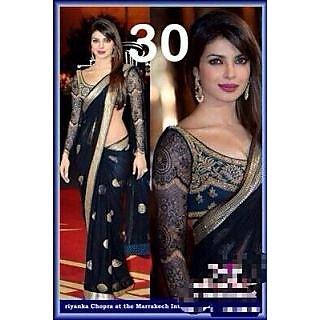 Priyanka Chopra Black Saree with same blouse