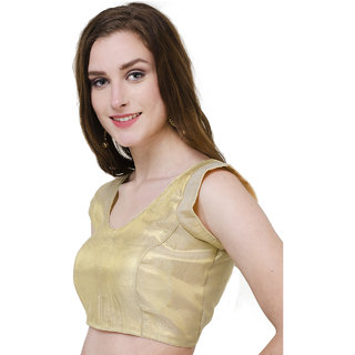 Naira Couture Brocade Plain Golden Readymade Designer Blouse