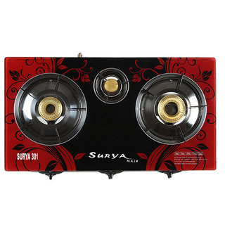 SURYA AMAZE Automatic 3 Burner designer Toughened Glass Top Gas Stove