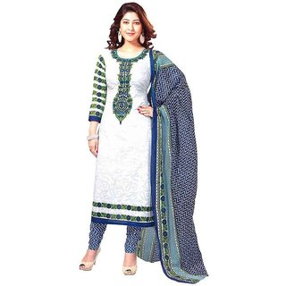 Sukuma Blue Cotton Printed Salwar Suit Dress Material (Unstitched)