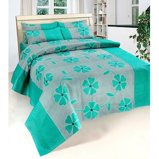 SURHOME PRINTED COTTON DOUBLE BED SHEET WITH 2 PILLOW COVERS.