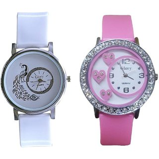 Glory Round Dial Pink  White pu Analog Watch For Women(Pack of 2)