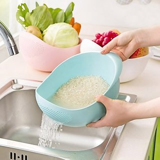 Cubee Rice Pulses Fruits Vegetable Noodles Pasta Washing Bowl  Strainer