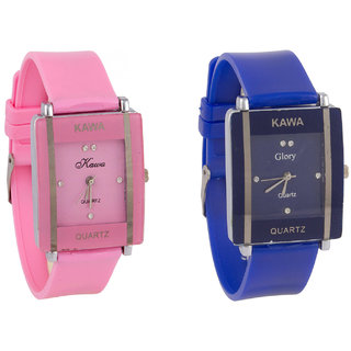 Glory Combo Of Two Watches-Baby Pink  Blue Rectangular Dial Kawa Watch For Women