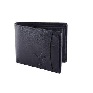 Krosshorn Black Pure Leather Wallet for Men's