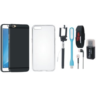 Oppo F3 Soft Silicon Slim Fit Back Cover with Memory Card Reader, Silicon Back Cover, Selfie Stick, Digtal Watch, Earphones and USB LED Light