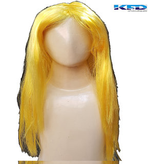 Kaku Fancy Dress Kids Ladies Girl Straight Styler Hair Wig Yellow Accessories