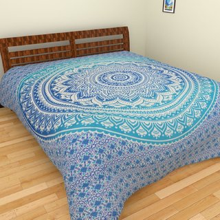 Malwa textile New Mandala Cotton Badsheet For Double Bad With 2 Pillow Cover