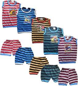 Jisha Fashion Sleeveless Tshirt Panty Set (Pack of 5)