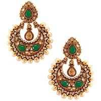 Habors Gold & Green Ayesha Chandbali Earrings
