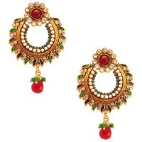 Habors Green Alvira Chandbali Earrings