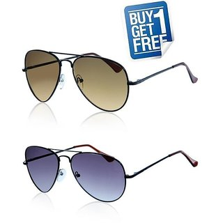 Buy 1 Get 1 Free - Brown & Blue Aviator Style Sunglasses Unisex