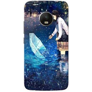 Moto G5 Plus Case, Girl Enjoying Rain Blue Slim Fit Hard Case Cover/Back Cover for Motorola Moto G5 Plus