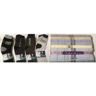 Combo of 2 Pair Socks  2 handkerchief (Color will be sent as per Availability)