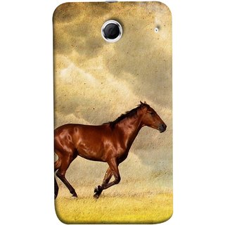FUSON Designer Back Case Cover For Lenovo K880 (Black Horse Animal Green Grass Blue Sky Clouds Look)