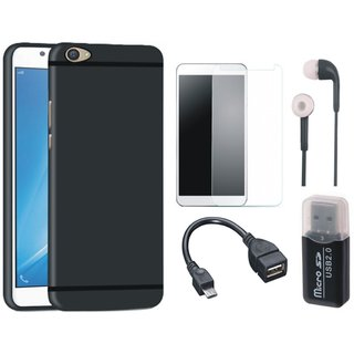Motorola Moto E4 Back Cover with Memory Card Reader, Tempered Glass, Earphones and OTG Cable