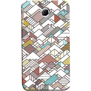 FUSON Designer Back Case Cover For Lenovo K880 (Watercolor Horizontal Vertical Vector Lines Colourful)
