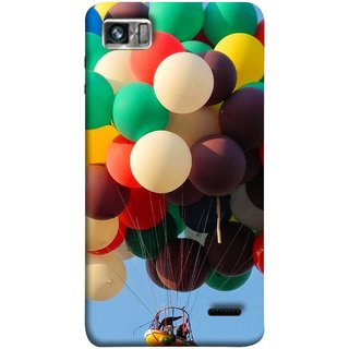FUSON Designer Back Case Cover For Lenovo K860 :: Lenovo IdeaPhone K860 (Up Up Sky Blue Colourful Balloons Boat Man )