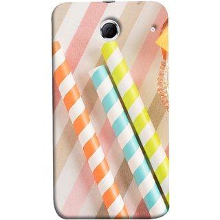FUSON Designer Back Case Cover For Lenovo K880 (Paper Plastic Straws Blur Yellow Orange Pink)