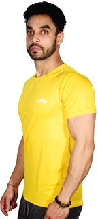 Scoop dry-fit yellow round neck short-sleeve tshirt