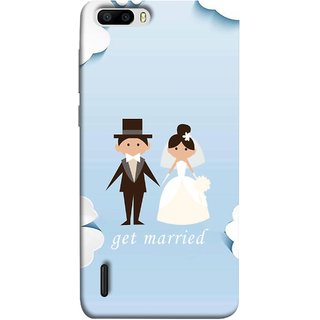 FUSON Designer Back Case Cover For Huawei Honor 6 Plus (Photo Wallpaper Marriage White Dressed Bride )