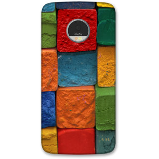 Moto Z Designer Hard-Plastic Phone Cover from Print Opera -Colorful bricks