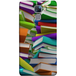 FUSON Designer Back Case Cover For Huawei Honor 7 :: Huawei Honor 7 (Enhanced Edition) :: Huawei Honor 7 Dual SIM (Stack Of Colorful Books White Pages School)