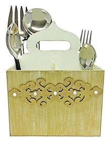 Kalaplanet Wooden Golden Pen Cum Cutlery Stand