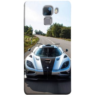FUSON Designer Back Case Cover For Huawei Honor 7 :: Huawei Honor 7 (Enhanced Edition) :: Huawei Honor 7 Dual SIM (Clouds Beautiful Silver Sports Car Led American Cars)