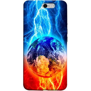 FUSON Designer Back Case Cover For InFocus M812 (Lightning On Globe Earth Space Beautiful Picture )