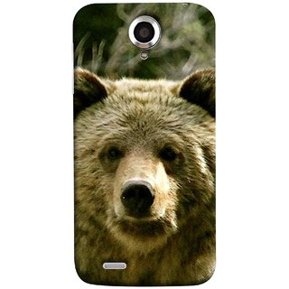 FUSON Designer Back Case Cover For Lenovo S820 (Bhalu Looking At You Animal Forest Green Background)