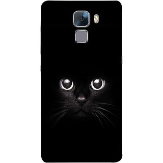 FUSON Designer Back Case Cover For Huawei Honor 7 :: Huawei Honor 7 (Enhanced Edition) :: Huawei Honor 7 Dual SIM (Black Kitty Kitten Closeup Of A Long Haired Black Cats )