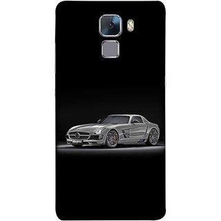 FUSON Designer Back Case Cover For Huawei Honor 7 :: Huawei Honor 7 (Enhanced Edition) :: Huawei Honor 7 Dual SIM (Road Black White Clouds Beautiful Road Blue Side Mirror)