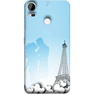 FUSON Designer Back Case Cover For HTC Desire 10 Pro (Eiffel Tower True Love Couples Kisses Sky )