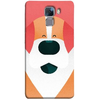 FUSON Designer Back Case Cover For Huawei Honor 7 :: Huawei Honor 7 (Enhanced Edition) :: Huawei Honor 7 Dual SIM (Big Smiling Puppy Canvas Painting Close Up Photo)
