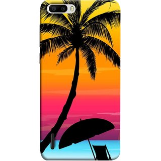 FUSON Designer Back Case Cover For Huawei Honor 6 Plus (Colorful Island Sunset Painting Canvas Wallpapers )