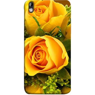 FUSON Designer Back Case Cover For HTC Desire 816 :: HTC Desire 816 Dual Sim :: HTC Desire 816G Dual Sim (Friendship Yellow Roses Chocolate Hearts For Valentines Day)