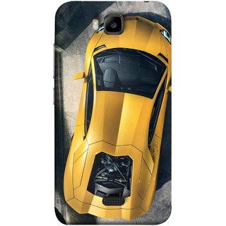 FUSON Designer Back Case Cover For Huawei Honor Bee :: Huawei Honor Bee Y5c (Yellow 918 Spyder Top View Expensive Cars)
