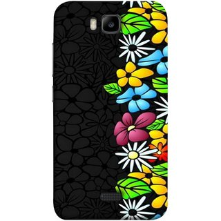 FUSON Designer Back Case Cover For Huawei Honor Bee :: Huawei Honor Bee Y5c (Multicolour Flowers Phul Gray Geen Leaves Beautiful)