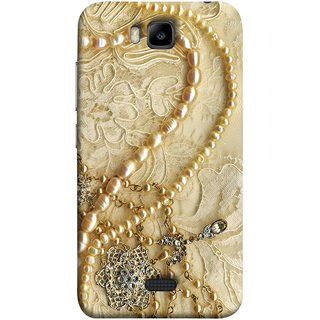 FUSON Designer Back Case Cover For Huawei Honor Bee :: Huawei Honor Bee Y5c (Perals Diamonds Pendent Gold Hand Embroidery Stitches)