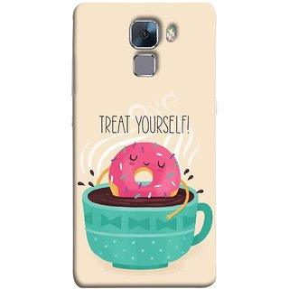 FUSON Designer Back Case Cover For Huawei Honor 7 :: Huawei Honor 7 (Enhanced Edition) :: Huawei Honor 7 Dual SIM (Donut Strawberry Flavor Sinking In Hot Chocolate)