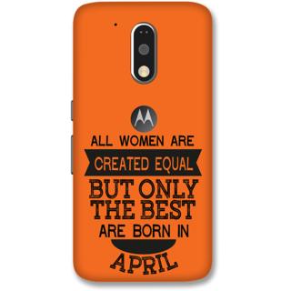 Moto G4 Plus Designer Hard-Plastic Phone Cover from Print Opera -Women born in April