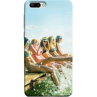 FUSON Designer Back Case Cover For Huawei Honor 6 Plus (Group Of Happy Young Woman Feet Splash Water In Sea)