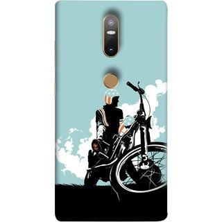 FUSON Designer Back Case Cover For Lenovo Phab 2 Plus :: Lenovo Phab2+ (Wheels White Clouds Grass Bike Usa Flag Helmet )