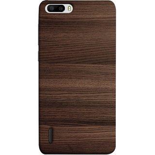 FUSON Designer Back Case Cover For Huawei Honor 6 Plus (Strips Brown Gray Sunmica Plywood Back Art Laminate)